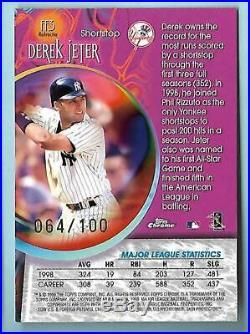Derek Jeter 1999 Topps Chrome Fortune 15 Refractor Insert Card #ff3 064/100 Rare