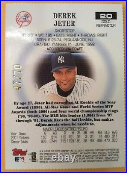 Derek Jeter 2002 Topps Pristine #20 Gold Refractor 47/70. LOW POP. Rare