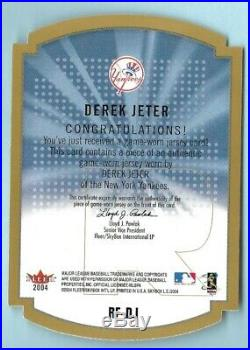 Derek Jeter 2004 Fleer Rare Form Gold Game Worn Jersey Limited Edition #rf-dj