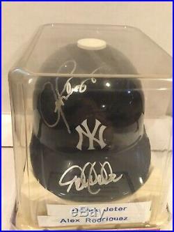 Derek Jeter & Alex Rodriguez Autographed Mini Yankees Helmet Rare COA W Box