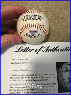 Derek Jeter Nolan Ryan Signed Baseball PSA DNA Certified Autograph LOA Rare