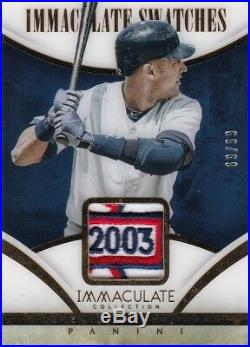 Derek Jeter RARE 2014 Immaculate Swatches 2003 Logo Patch Gold #69/99 1/1