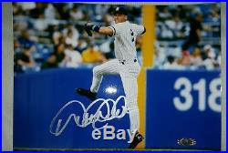 Derek Jeter Rare Autographed Signed in action 8 x10 Photo Auth by Steiner