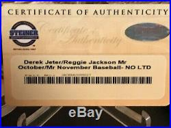 Derek Jeter & Reggie Jackson SUPER RARE signed ball Mr. Nov. /Mr. Oct. Steiner 5/15