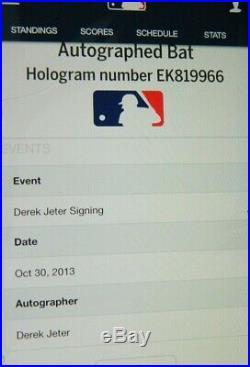 Derek Jeter Signed Bat Derek Jeter Autographed Game Model Bat Rare Steiner Mlb
