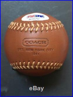 Derek Jeter Signed Coach Leather Baseball RARE MINT AUTOGRAPH PSA LOA YANKEES