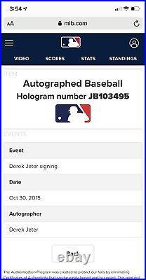 Derek Jeter Signed Retirement Baseball MLB Steiner Certified Autograph Rare Auto