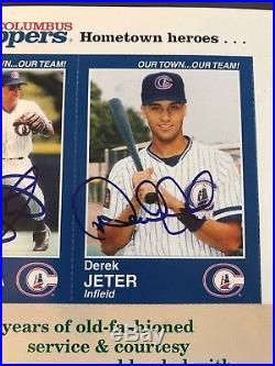 Derek Jeter autographed Columbus Clippers Program insert complete sheet RARE 1/1