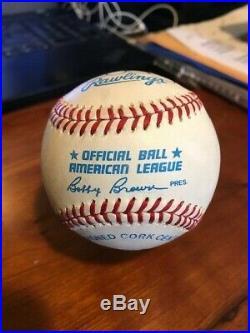 Derek Jeter single signed Brown OAL baseball pre-rookie 1995 with ticket rare PSA