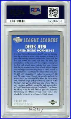 Derek Jeterrare Pop 501993 Excel League Leader Psa-10 Gem-mt Rookie Rc Card#10