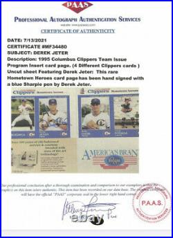 Derek jeter Rare Columbus Clippers Autographed With COA