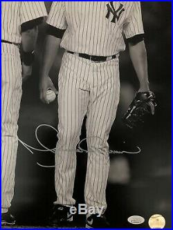Mariano Rivera Signed 16x20 Photo WithDerek Jeter Black & White Rare Free Shipping