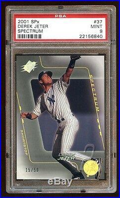 Pop 2 Psa 9 Derek Jeter 2001 Spx Spectrum #d 15/50 Super Rare Find Yankees Hof