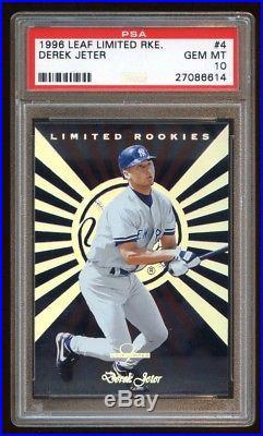 Psa 10 Derek Jeter 1996 Leaf Limited Rookies Rc #4 Of 10 Rare Jeter Gem Mint Rc