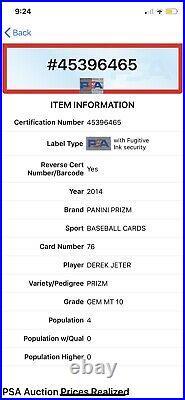 Psa 10 Derek Jeter 2014 Panini Prizm #76 Silver Prizm Refractor Rare Low Pop 4