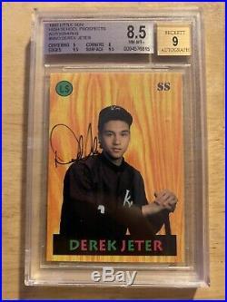 -RARE-1992 Derek Jeter #NNO BGS 8.5 Auto 9 Little Sun High School Auto Rookie RC