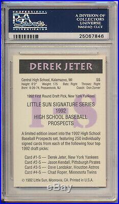 RARE 1992 Little Sun Derek Jeter Autographed Signed Card PSA/DNA Yankees