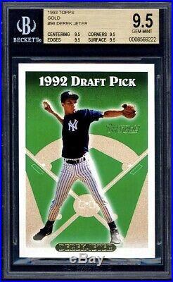 RARE 1993 TOPPS GOLD DEREK JETER #98 RC BGS 4 x 9.5 = PSA 10 PERFECT CARD