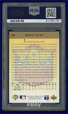 RARE! 1993 Upper Deck #449 GOLD HOLOGRAM Derek Jeter ROOKIE RC PSA 10 GEM MINT