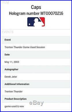 RARE Yankees Derek Jeter Signed Auto Game Used Issued 2003 Trenton Rehab Cap