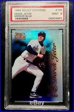 Rare 1996 Select Certified Mirror Blue Derek Jeter Rookie #100 Psa 9 Mint