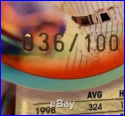 Rare Refractor 1999 Topps Chrome Derek Jeter #d /100 PSA 10 FIRE