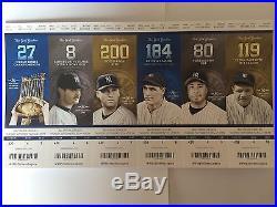 Rare Six Yankees 9/25 Final Ticket Stubs Uncut Sheet with Derek Jeter