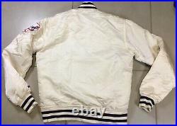VTG New York Yankees Sz S White Starter Satin Bomber Jacker Rare 90s Jeter MLB