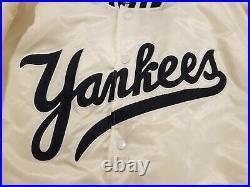 Vintage New York Yankees White Starter Satin Bomber Jacket Rare 90s Size Large
